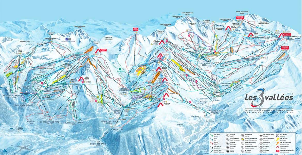 Pistekort for Val Thorens og Les 3 Vallees med oversigt over lifter og pister.